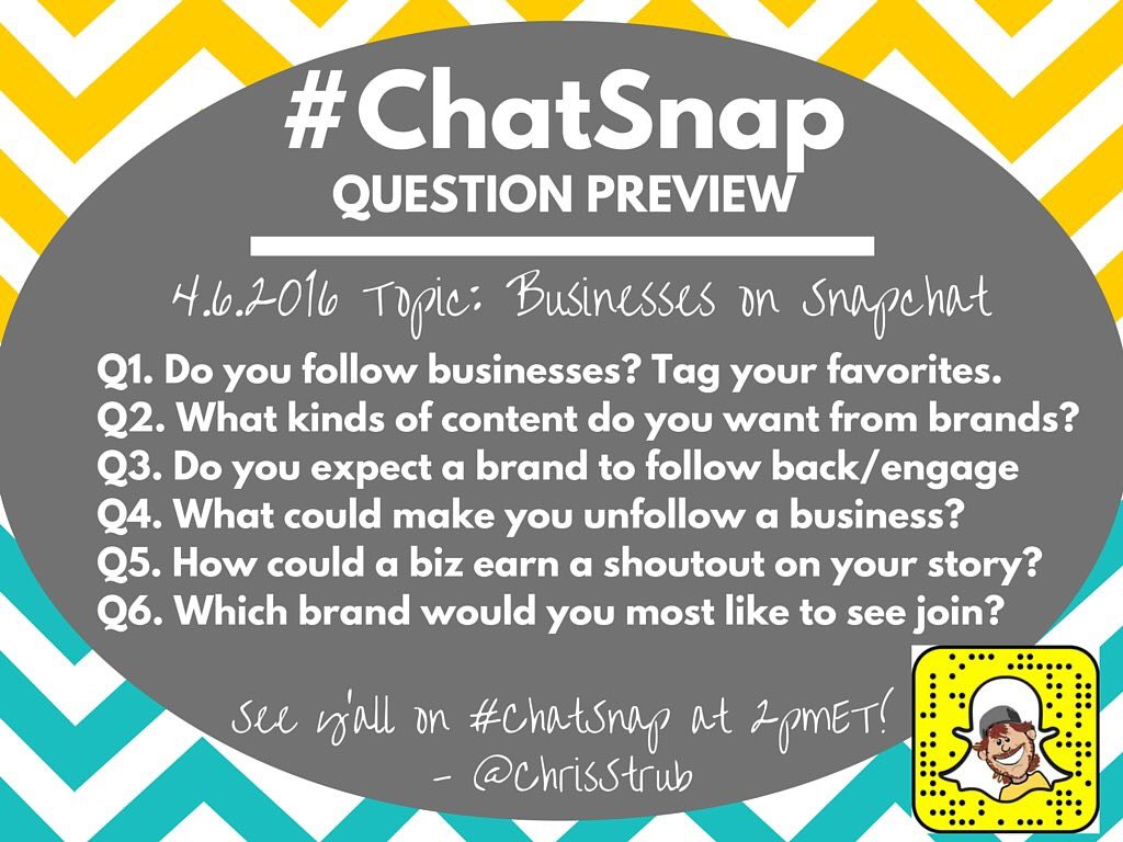 Here are the questions for today's #ChatSnap at 2 pm Eastern. I'm filling in for @KrisGillentine. See you there! https://t.co/8TvvTddKUl