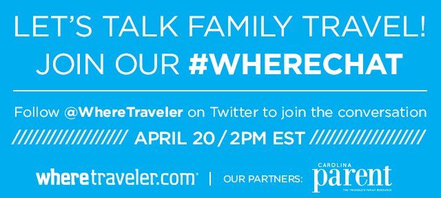 New #wherechat announced - lets talk #FamilyTravel on Apr. 20 2-3pm ET https://t.co/EybiWIRNqk https://t.co/D8lzmhg9EE