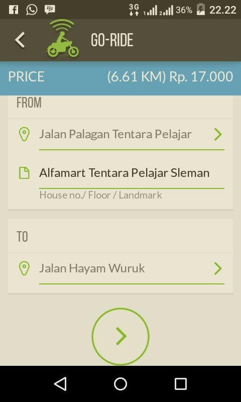 Pengalaman pakai Go-Jek di Jogja dari Alfamart Tentara pelajar Sleman menuju Alfamart Hayam Wuruk Yogyakarta