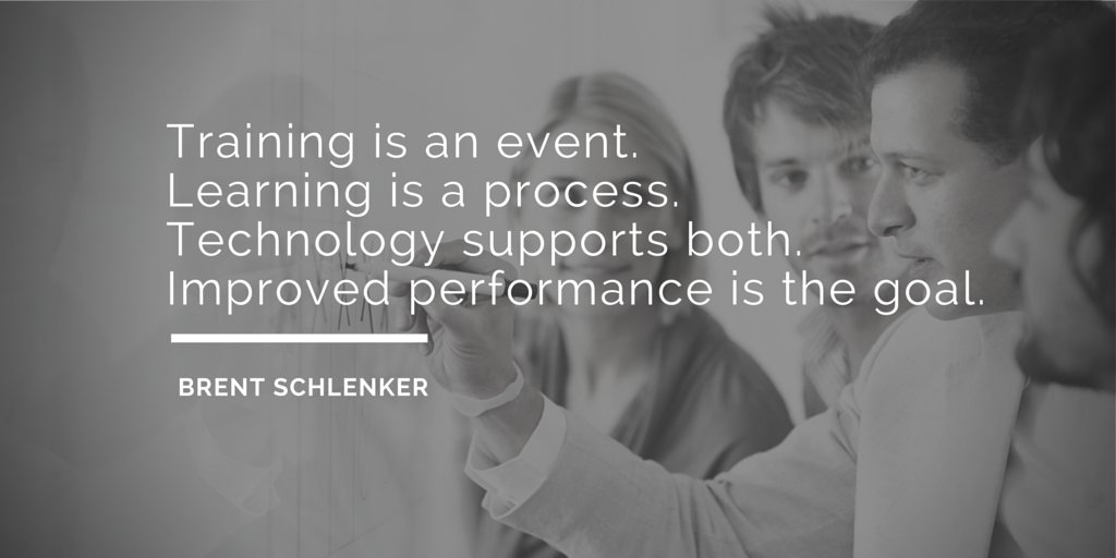 Training is an event Learning is a process Tech supports both Improved Performance is the goal #ATD2016 #CALDC3 https://t.co/P6DMFKBnEp