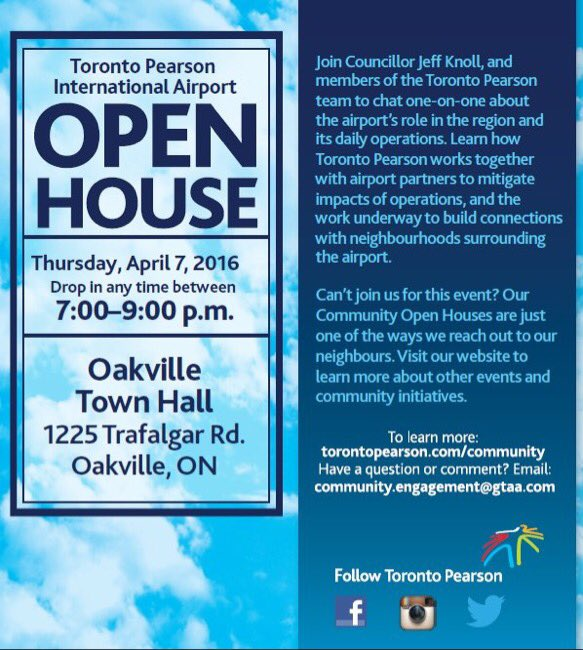 Want to know about @TorontoPearson & air traffic noise?  Drop in this Thurs at town hall from 7 to 9. Please RT!! https://t.co/t19o2YKndJ