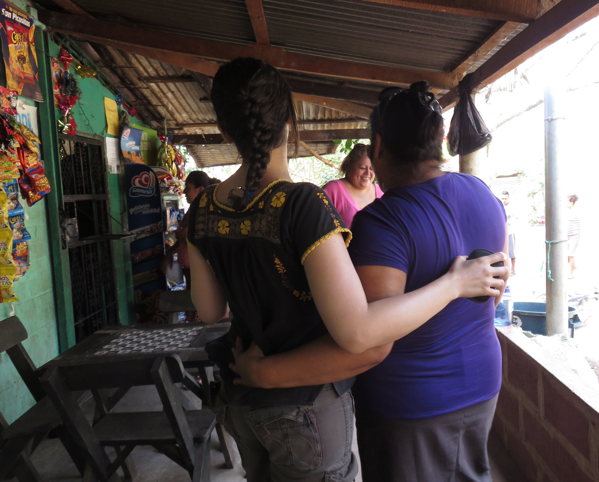 ESPERA staff Gaby & Vilma embrace as they talk w/ women from a group in Suchitoto, El Salvador #economicsolidarity https://t.co/nwLkBMP4s4