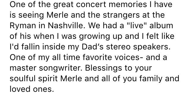 Here's a statement I just received from @KeithUrban on the passing of @merlehaggard. @NC5 #RIPMerle https://t.co/vV8TCxDHAF
