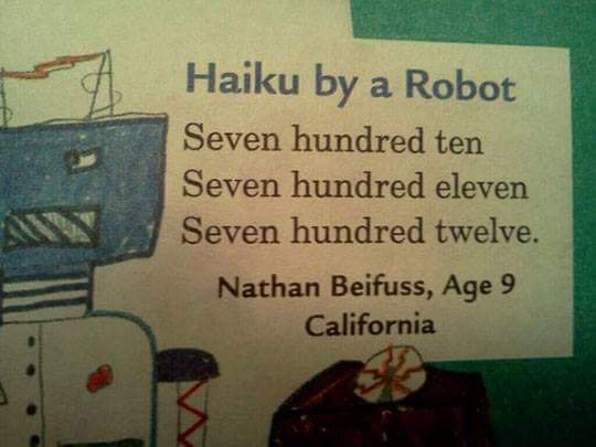 Haiku by a robot is the best haiku ever https://t.co/aamekRkU8w