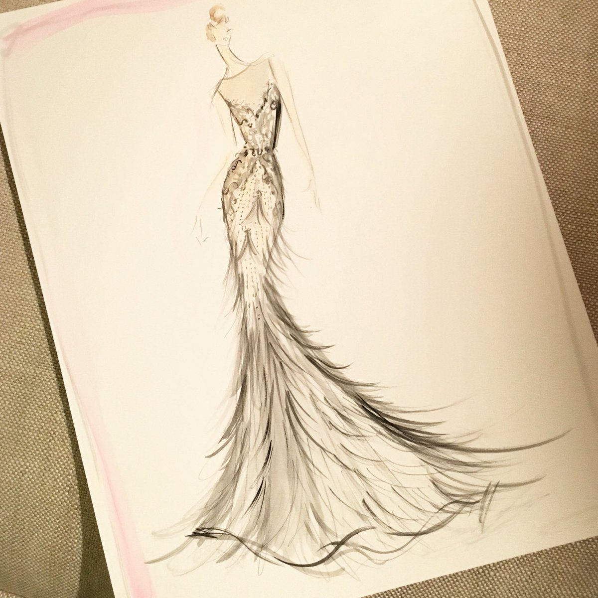 Sketch of the day: lace and feather fringe bridal gown. sketch ...