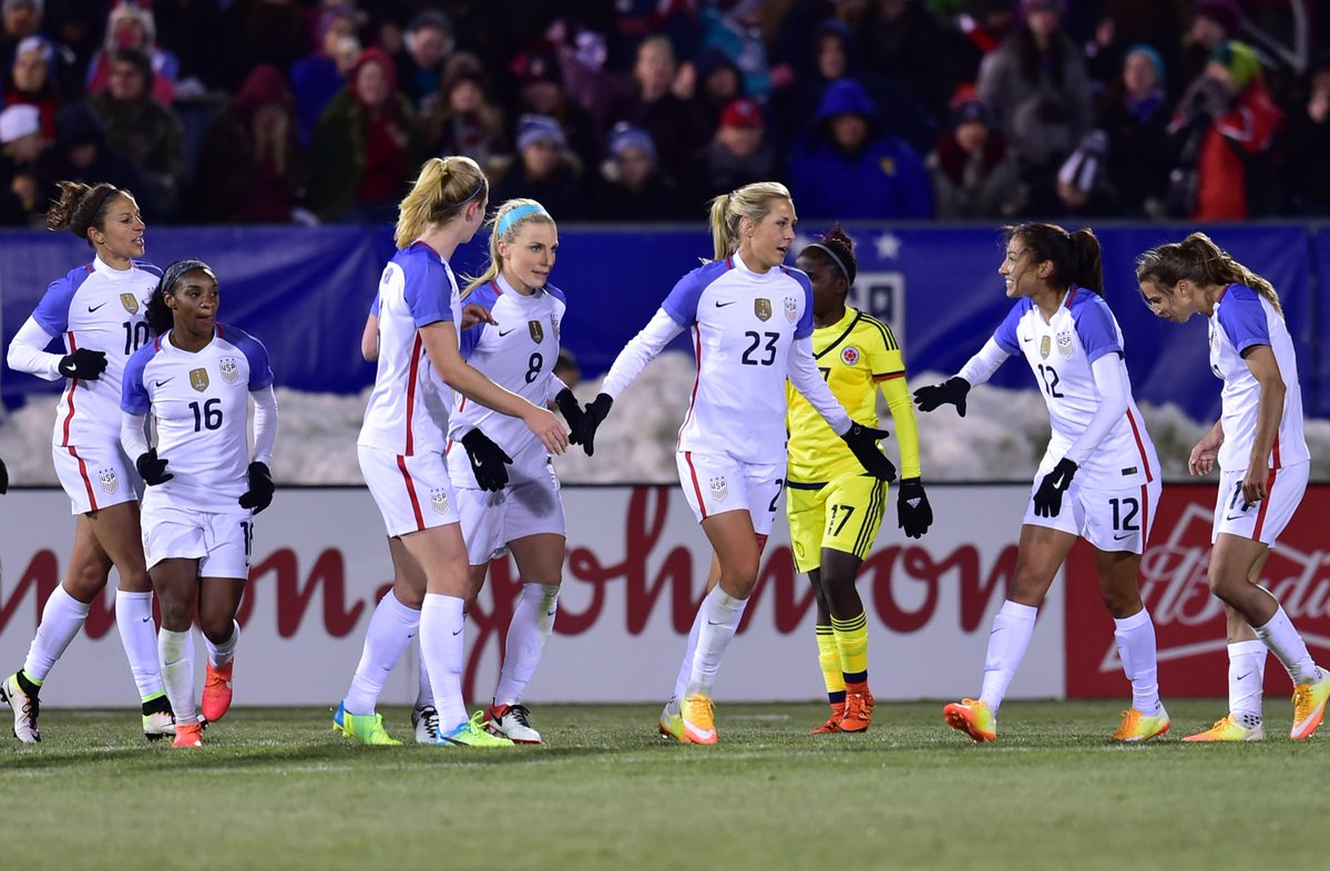 FT: USA 7, COL 0. Dunn, Long (2), Pugh, Lloyd, Heath & Press score for #USWNT. #USAvCOL meet again 4/10 in Philly.