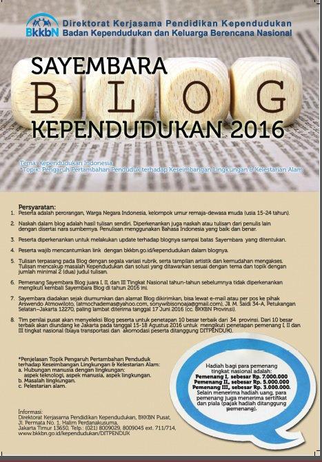 Juni 2016, BKKBN, Sayembara Blog