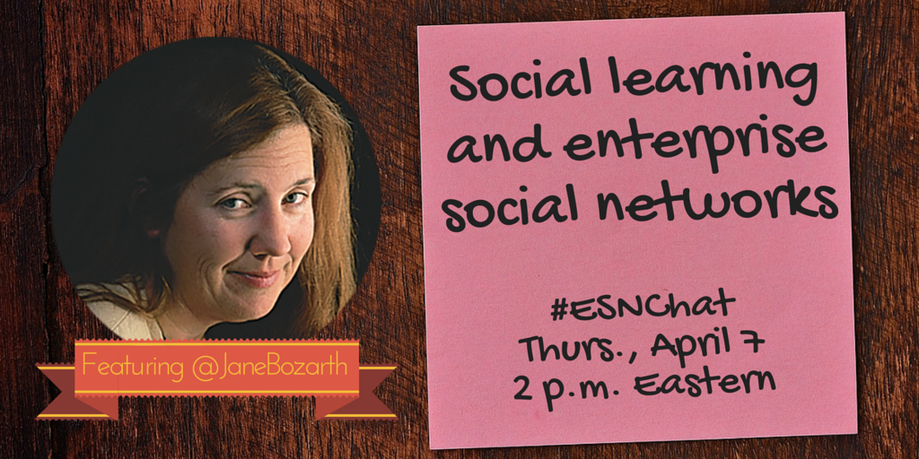 On today's #ESNchat we're discussing using your #ESN for #SocialLearning with guest @JaneBozarth https://t.co/Au94p39LCV