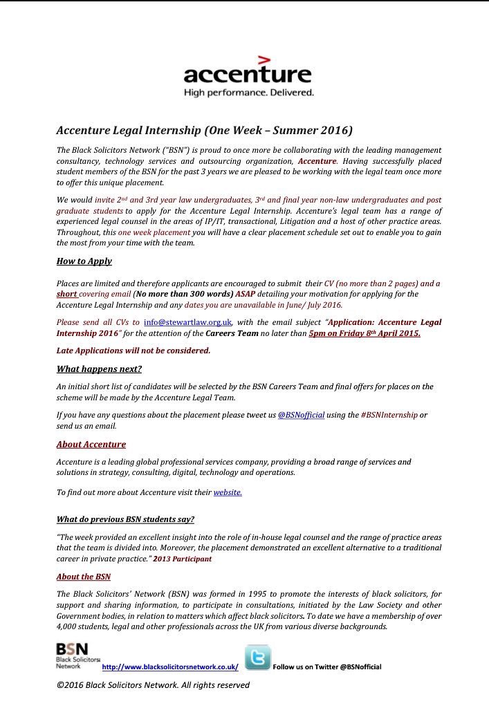BSN on Twitter Apply for Accentures summer internship CV and
