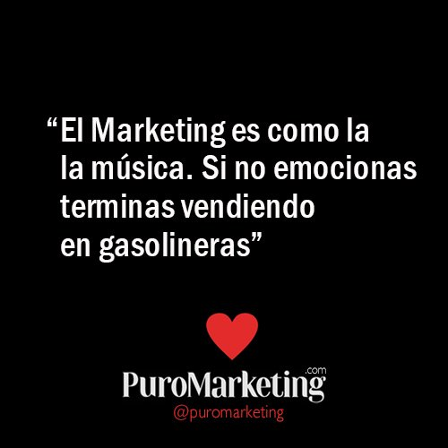"""El #Marketing es como en la música. Si no emocionas terminas vendiendo en gasolineras"" @puromarketing https://t.co/Ui8XUE4qds"