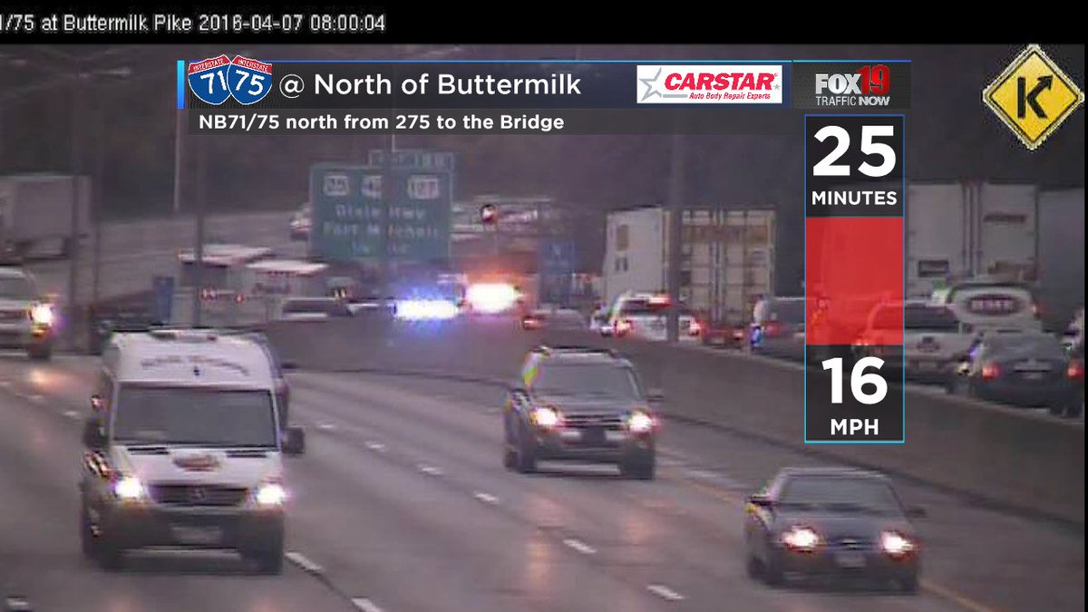 Accident nb 71/75 north of buttermilk the left lane blocked
