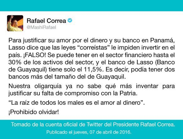 """.@MashiRafael """"Para justificar su amor por el dinero.."""" https://t.co/0R0BAKiqWw"""