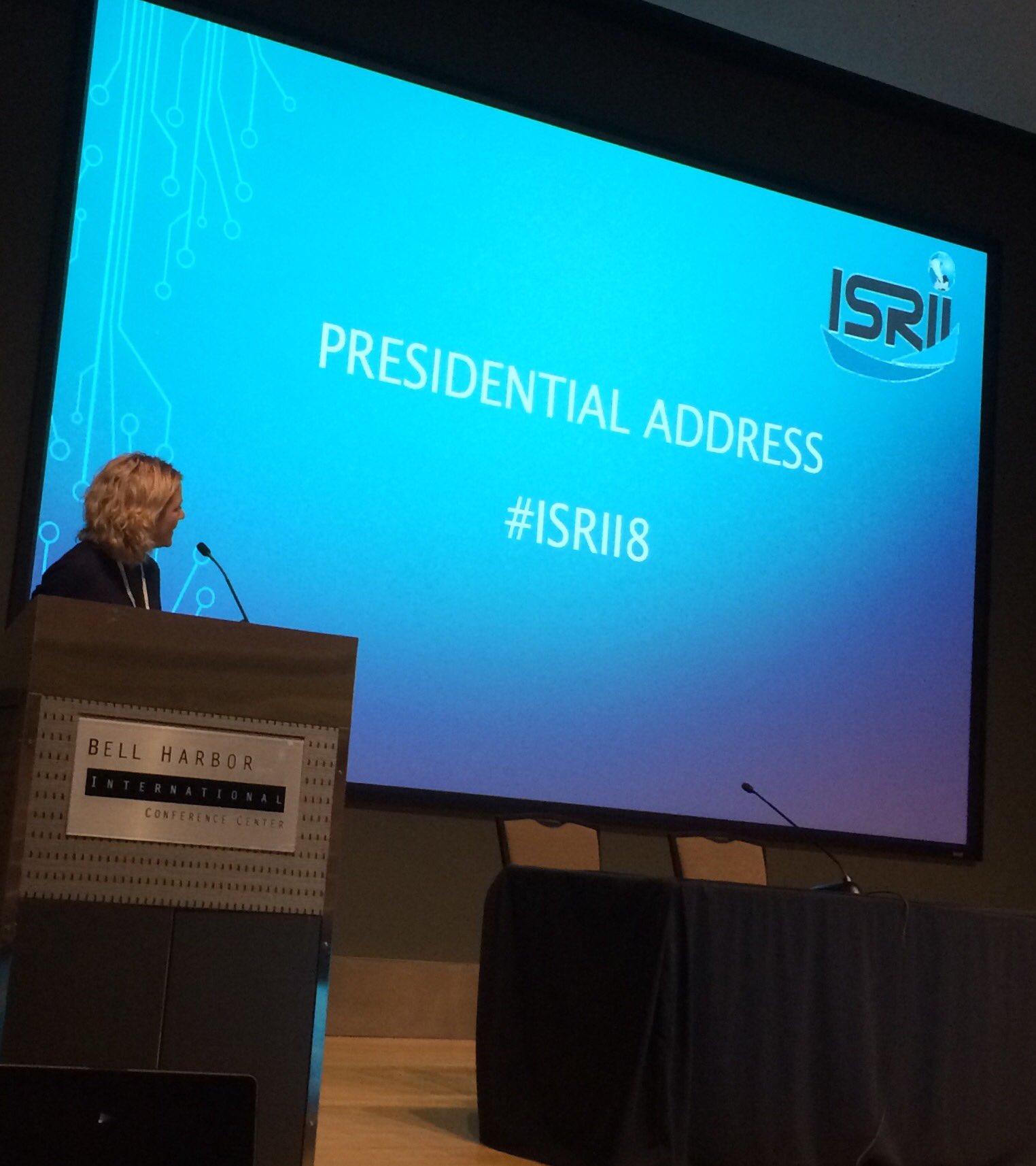 President @FranKayLamb with presidential address. Highlighting the Twitter hashtag #ISRII8 https://t.co/j1Kcenn6mZ