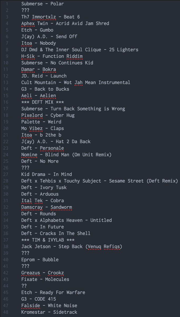 Here's yesterdays show on @NTSlive with @deft_1 & @IvyLab_! Track list attached - https://t.co/aGrozBb9kq https://t.co/VFhmvzhuc6