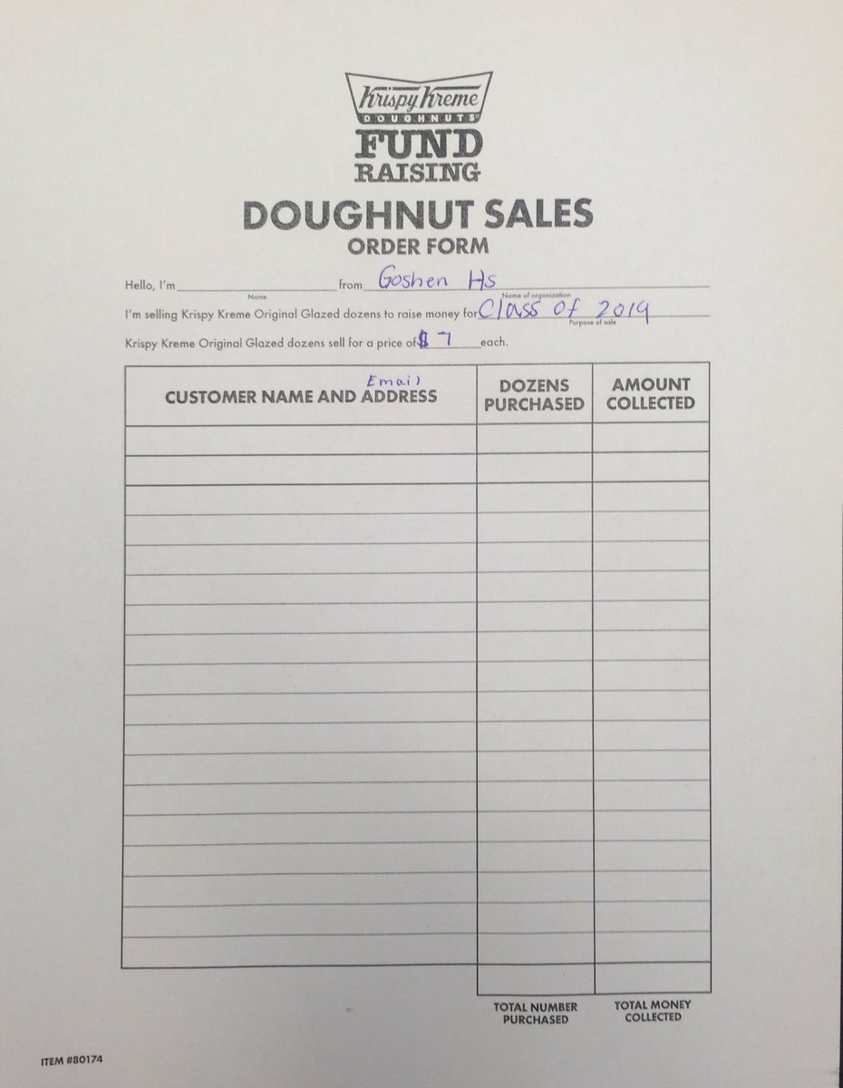 Ghs Seniors On Twitter Fundraiser For Krispy Kreme Donuts Pick Up An Order Form From The Bulletin Board Whoever S Most