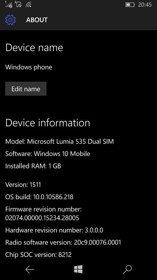 Windows 10 mobile Build 10586.218 already on Microsoft's Update site