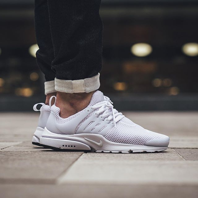 Nike Air Presto All White On Feet