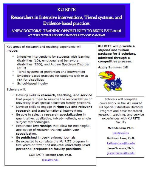Best Practices In Special Education Study Com >> Ku Special Education On Twitter Study At Ku 1 Sped Program In The