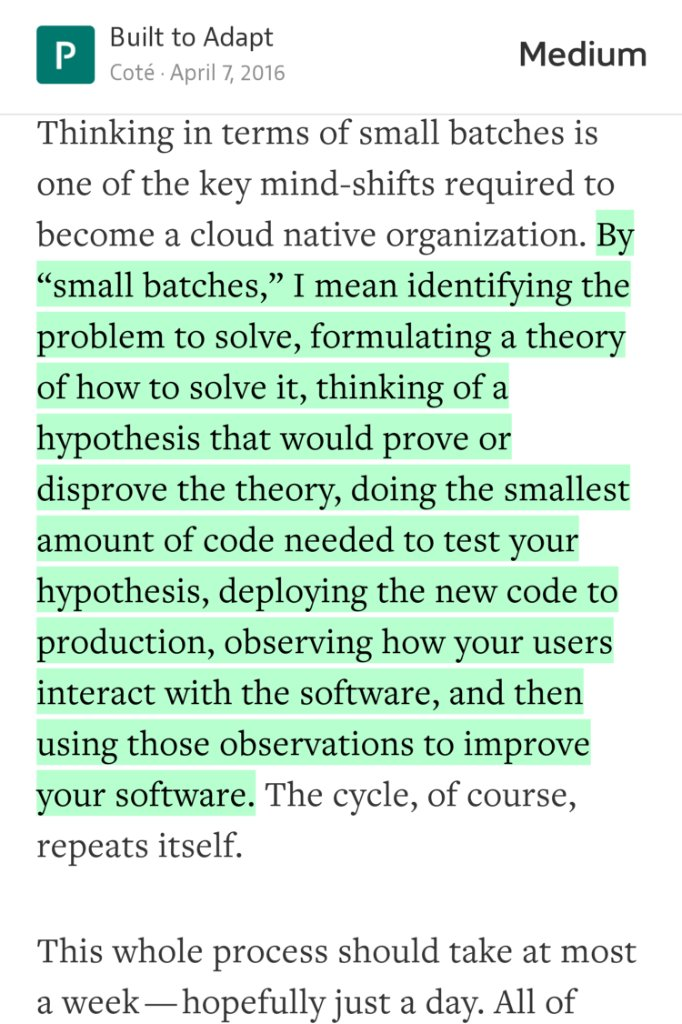 """Good Software is a Series of Little Failures""  @cote on why the ""small batch"" approach to development is better. https://t.co/EzsLhAVfTe"