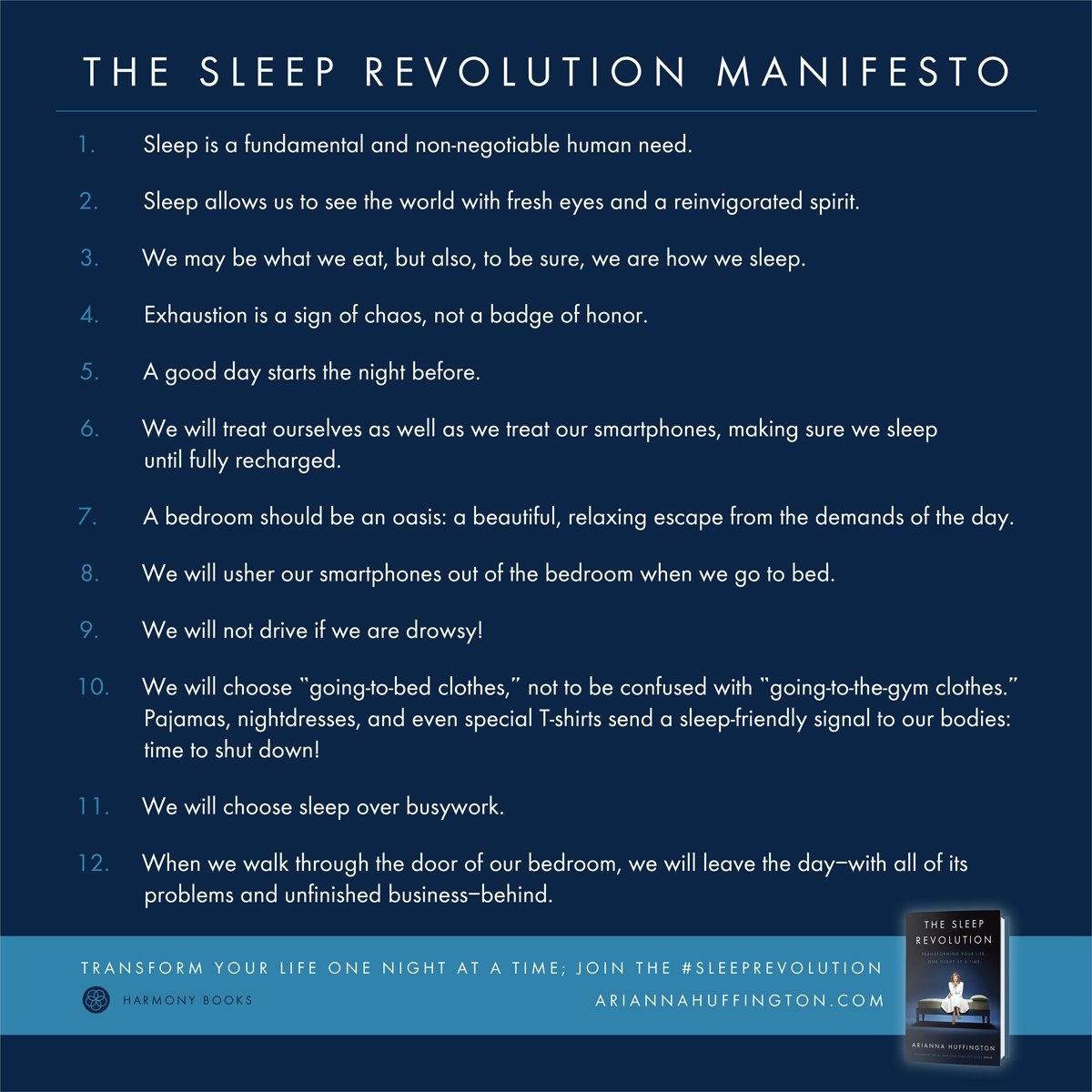 My good friend @ariannahuff has shared 12 tips for a better sleep #SleepRevolution https://t.co/ZZIfs9SPau