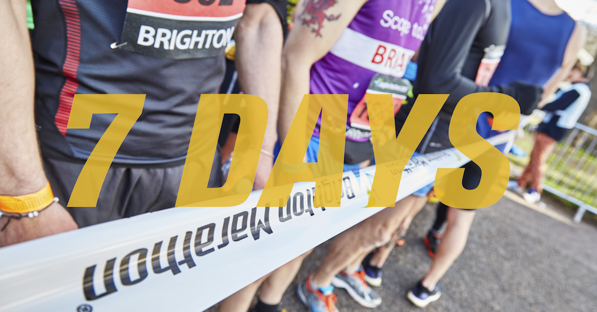 SEVEN DAYS.  #BrightonMarathon BM10k #BrightonHero https://t.co/nKfr4qYiaO