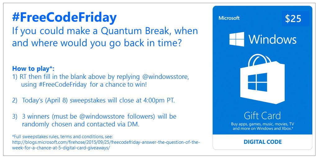 It's #FreeCodeFriday! Enter to win one of three $25 #WindowsStore digital gift cards.  https://t.co/jQDgQqZsKC https://t.co/U5DVSX9KJx
