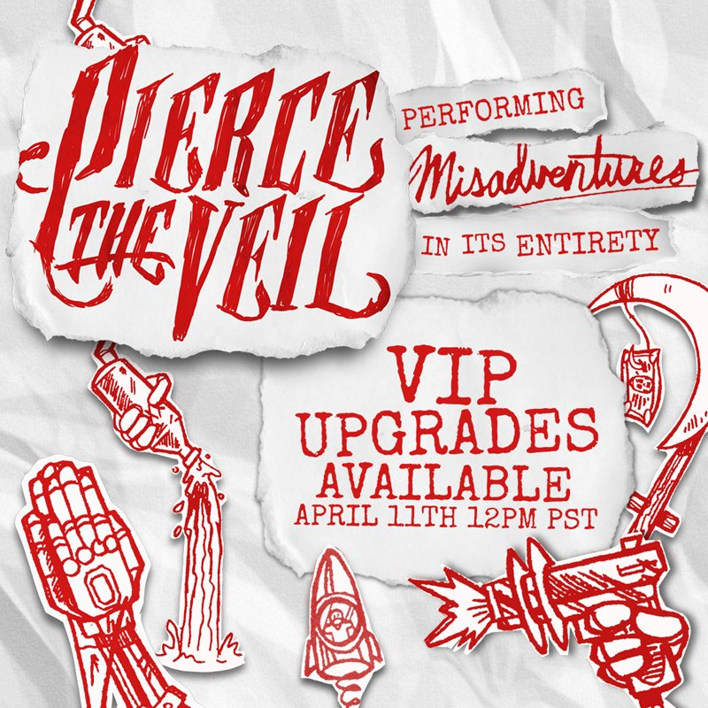 Pierce the veil on twitter vip upgrades for misadventures tour never miss a moment m4hsunfo