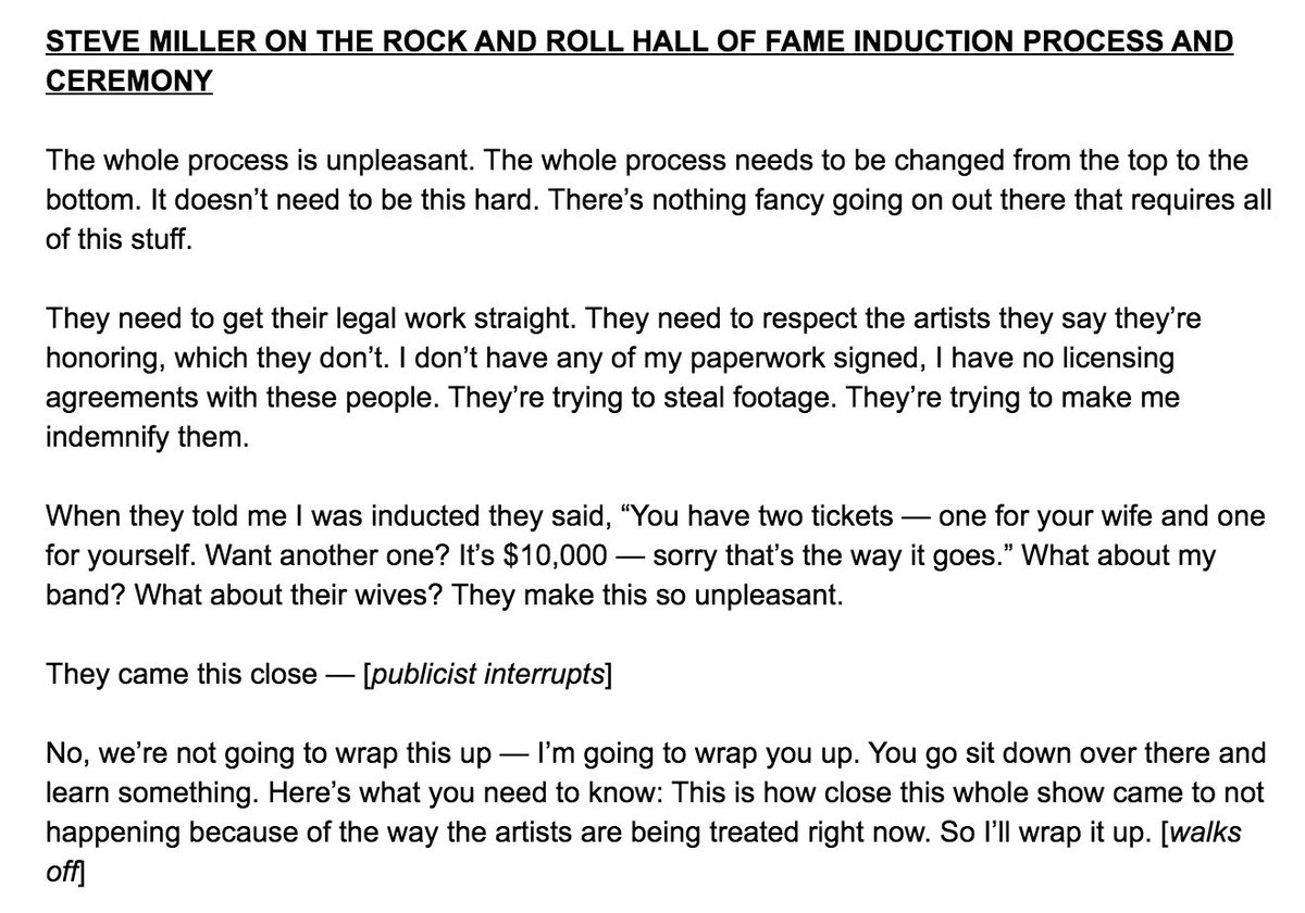 Steve Miller just ranted beautifully in the #rockhall2016 press room https://t.co/vpmAC5AtPe