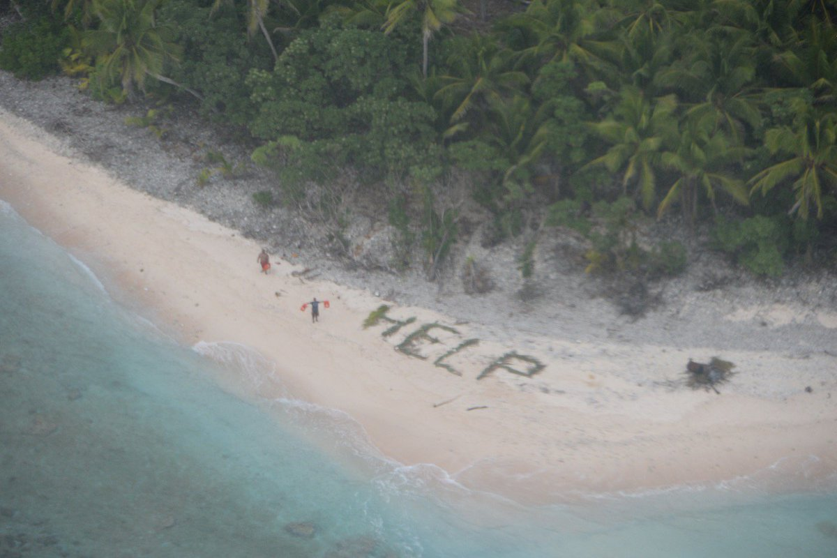 Three men rescued from deserted island after spelling 'help' with ...