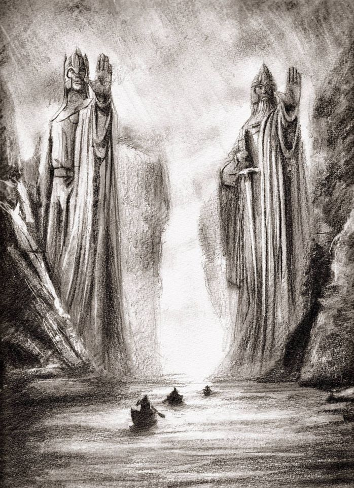 rocks, The Lord of the Rings, Argonath, statues, artwork, Ted ...