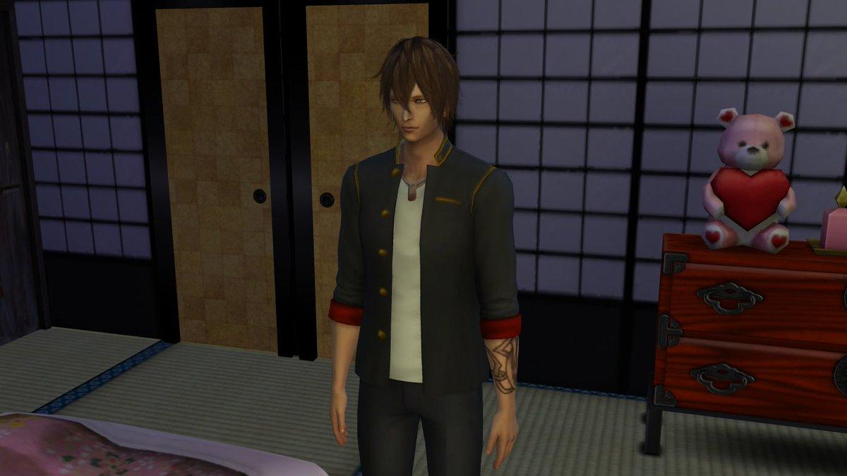 simsにもともと入ってたジャケット改造して大倶利伽羅の上の服つくった 素人仕事丸出しで辛い