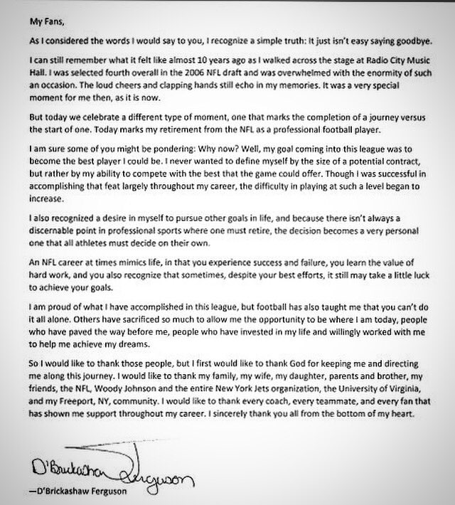 Zeus on Twitter Heartfelt retirement letter from DBrickashaw