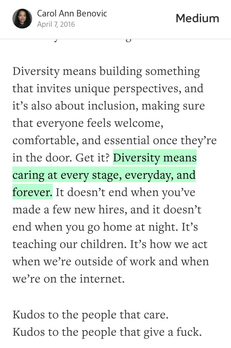"""Diversity means caring at every stage, everyday, and forever."" — @CarAnnBen https://t.co/i4y9awvujb https://t.co/oj601NFSK7"