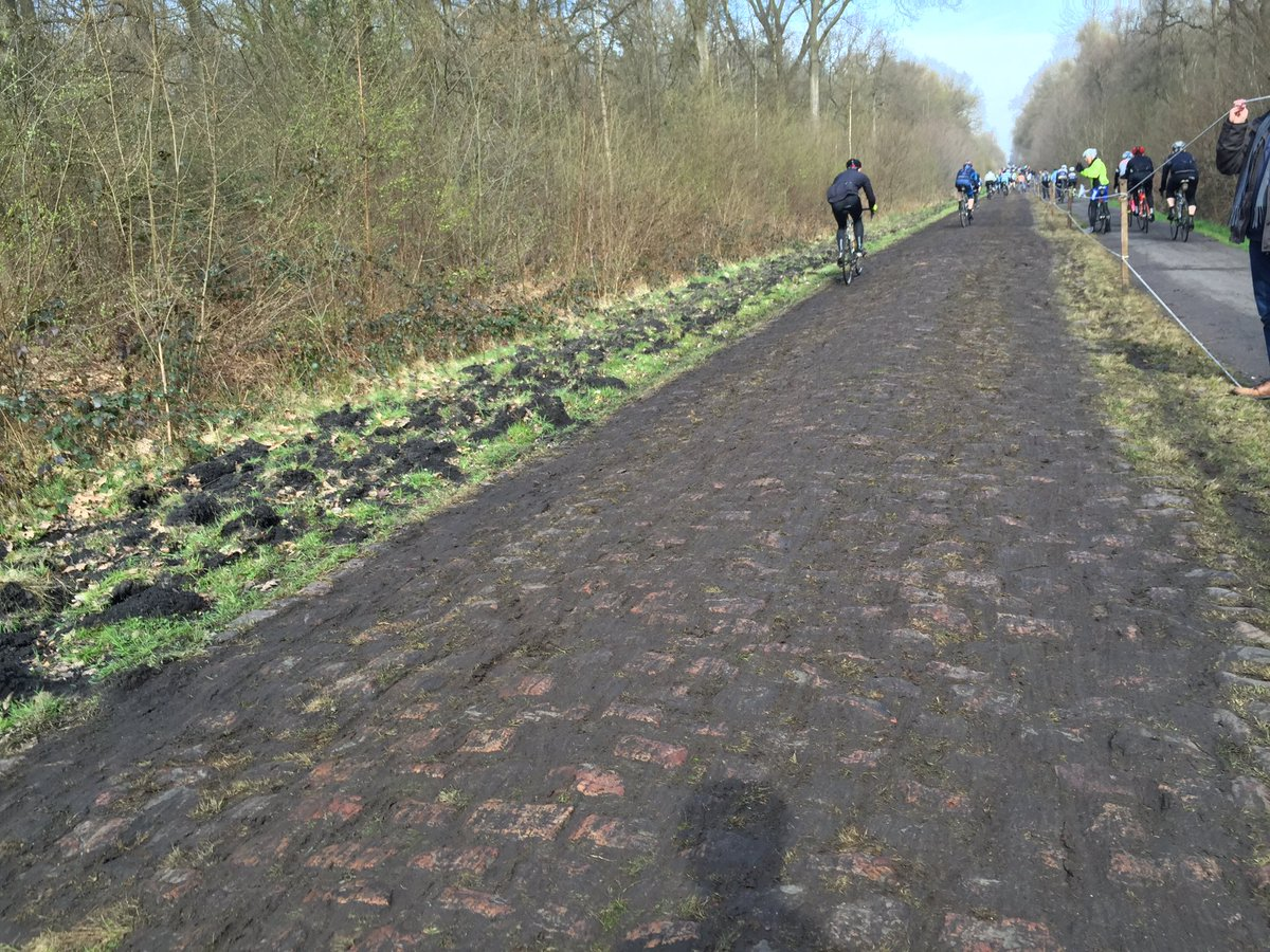 This is the Arenberg today, and it's going to rain tonight... #goodluck #roubaix https://t.co/1YrL9R1Qs9