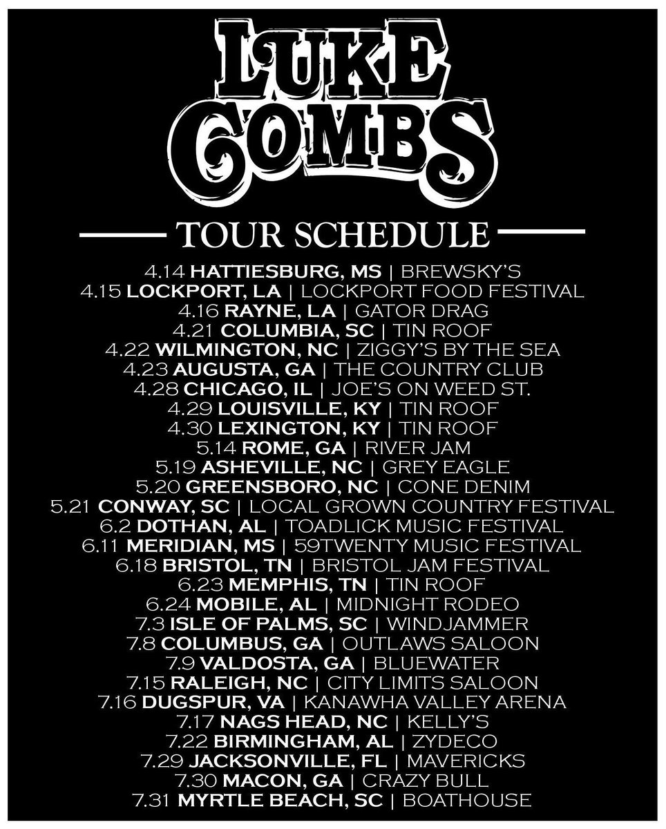 Luke combs on twitter rt then reply with the show youll be luke combs on twitter rt then reply with the show youll be attending for a chance to win 2 mg passes tickets httpstunni9dpn1x m4hsunfo