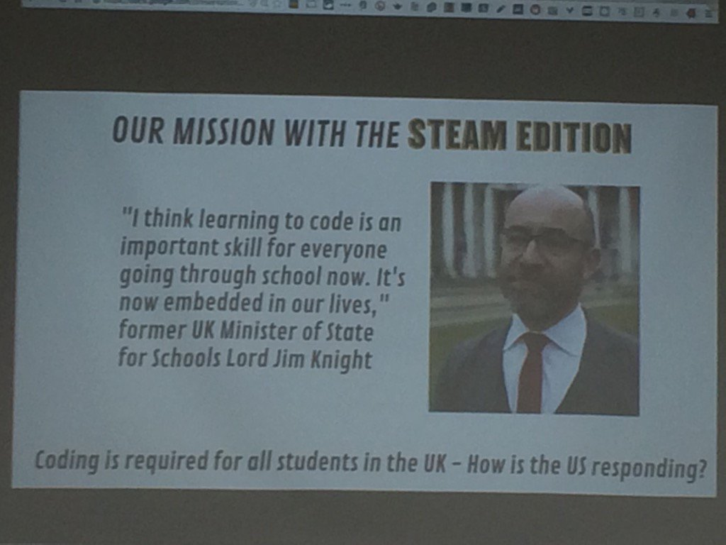 Get kids unveiled in coding. Why required in UK and not USA @edcampOSjr #cuerockstar https://t.co/980a3eY2VN