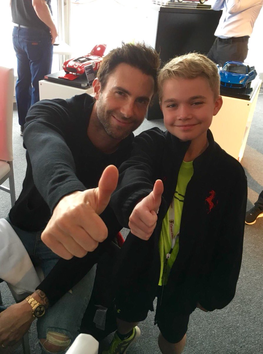 Austin's ready for his wish to come true on track at @RaceSonoma w/@FerrariUSA after meeting @adamlevine @sfwish https://t.co/oYs3k8DDoN