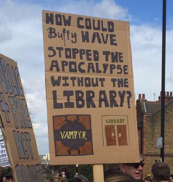 In a day of brilliant #carnegieoccupation posters, this is the star imo. #Buffy #josswhedon #SaveLambethLibraries https://t.co/alguHMXELN