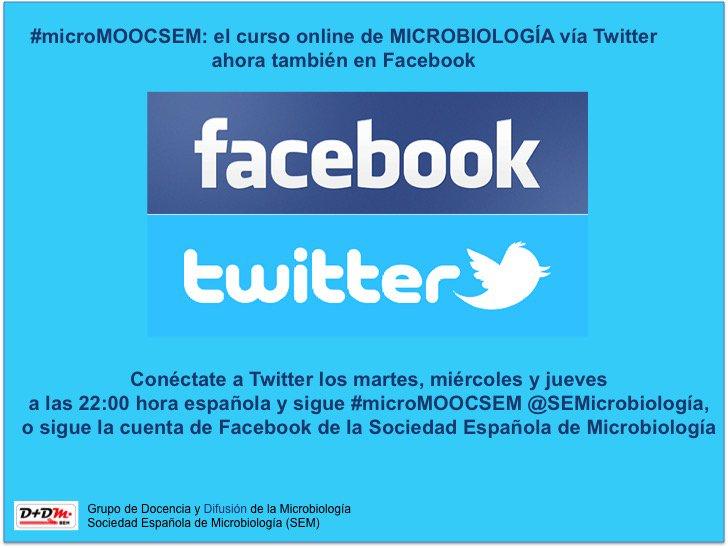 Recuerda que puedes seguir la clase #microMOOCSEM también por Facebook o siguiendo @SEMicrobiologia https://t.co/F8u1yQ1YV3
