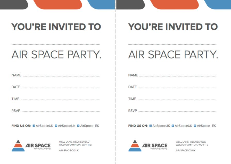 Air Space on Twitter Air Space branded party invites NOW – Space Party Invitations