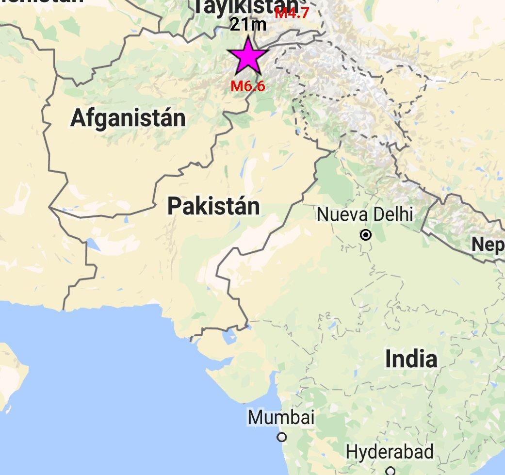 Epicentro Terremoto Oggi Afghanistan tra Pakistan e Tagikistan