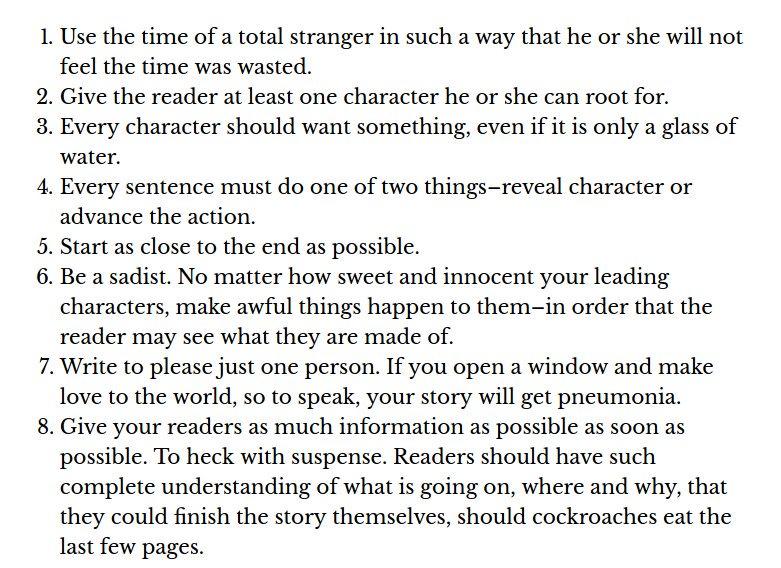kurt vonnegut on how to write a short story