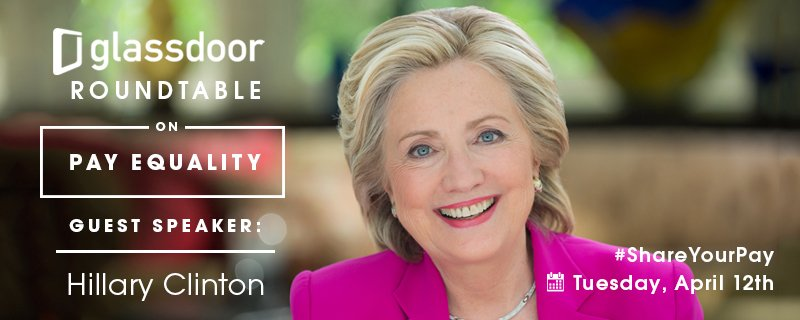 Join the conversation. Glassdoor Roundtable on Pay Equality w/ @HillaryClinton #ShareYourPay https://t.co/ykATzfkO7K https://t.co/NfdrBdIewZ