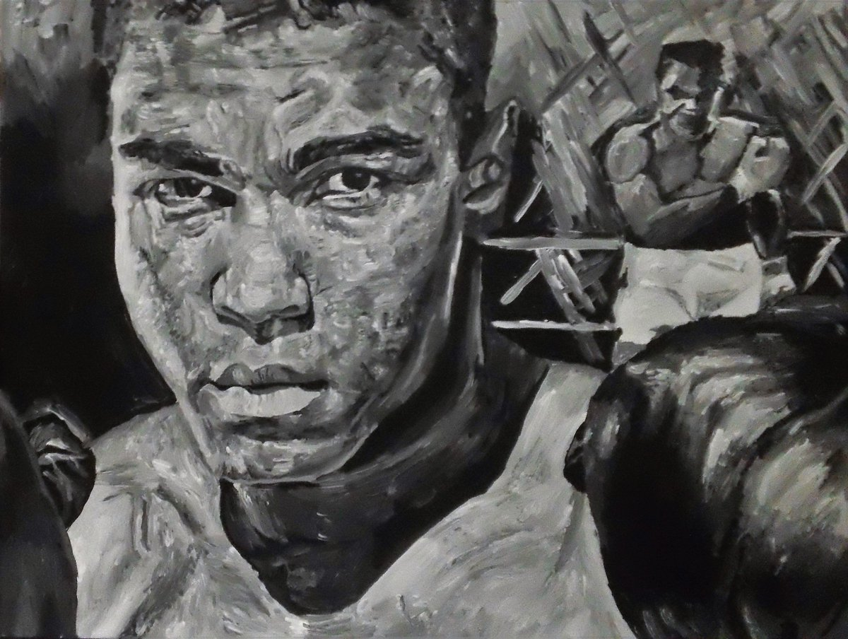 Masterjoelnathan On Twitter My First Grayscale Black And White Painting Pop Art Portrait Of Muhammadali Https T Co Echumktqfg