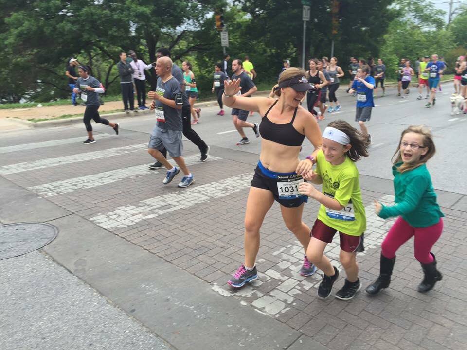 Great day the @cap10k today; one child running, one child spectating, both having fun! #cap10k #atx https://t.co/8vLFtwhmaP