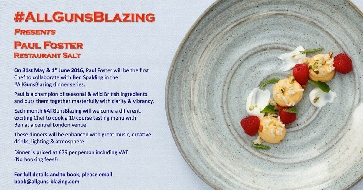 Tickets are now live for the 1st ever #AllGunsBlazing with @Paulfosterchef   For tickets:  book@allguns-blazing.com https://t.co/DoQDVlXZbD