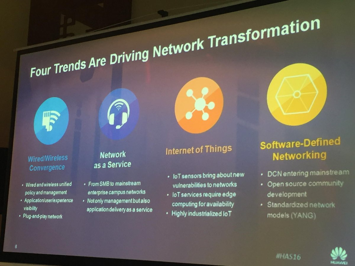 4 trends driving network transformation - SDN, IoT, network as service (NaaS), wired/wireless convergence #HAS2016 https://t.co/i0KPSuKVp6