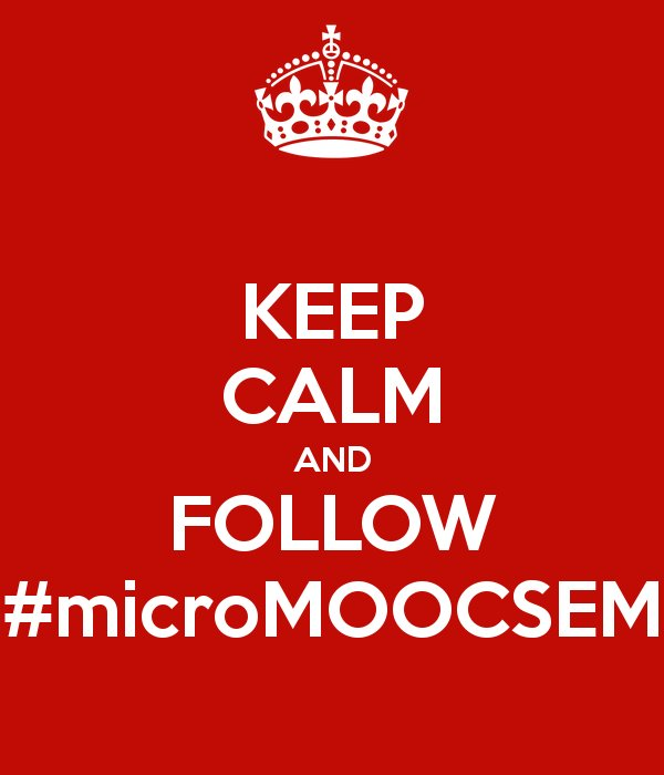 "No te olvides de RT los ""tuits"" de hoy o darle a ""Me gusta"" si nos sigues por Facebook #microMOOCSEM https://t.co/tKCj0fQ9eB"
