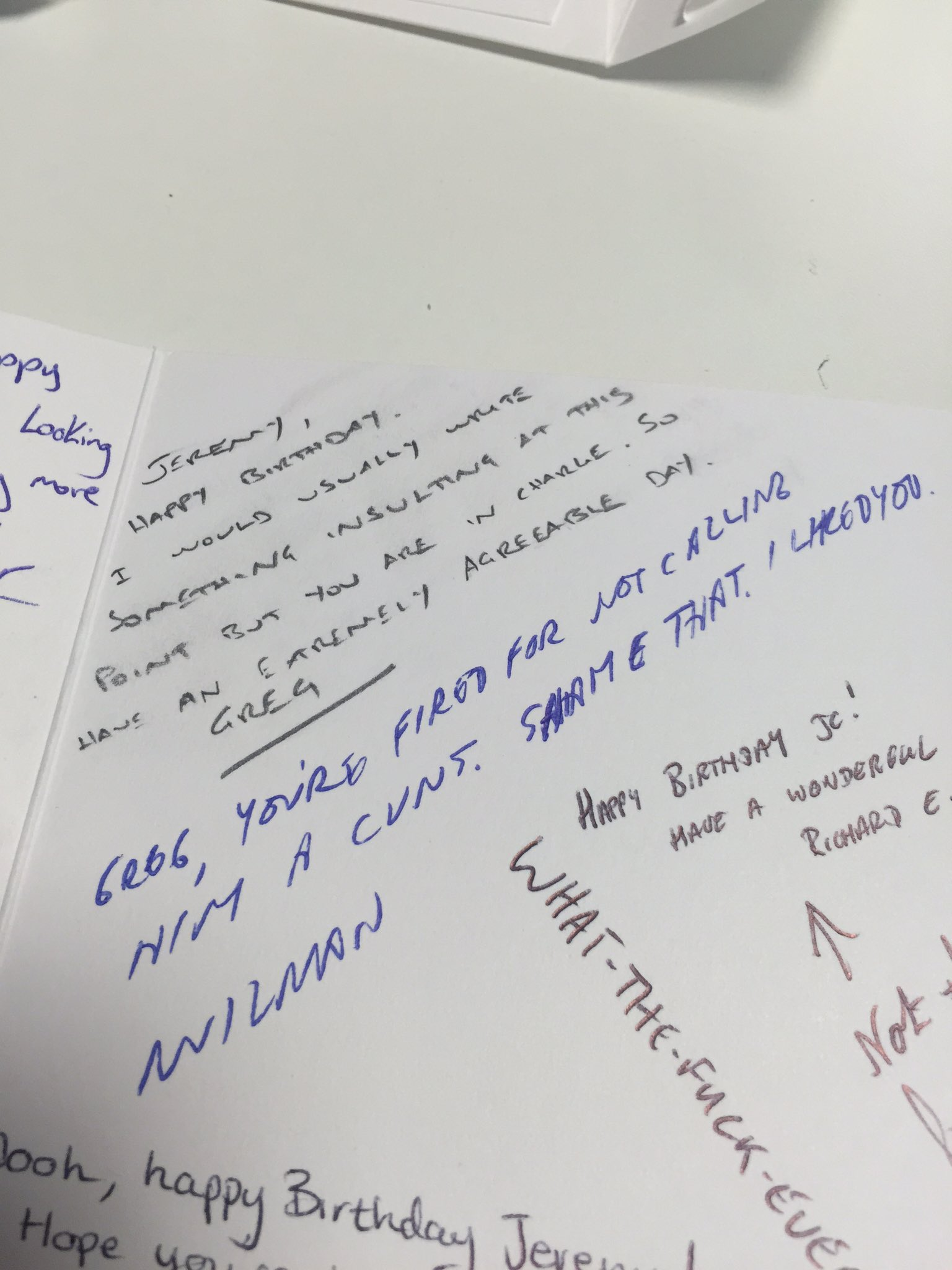 2 of the messages on my birthday card. The one on top is from the series producer. And the one below from his boss. https://t.co/Jjfwn0KxSj