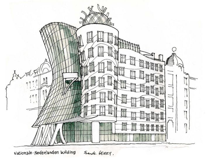 Anne mortier on twitter sketch for dancing house prague for Modernes haus gezeichnet
